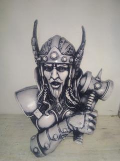 Figura De Resina Busto De Thor