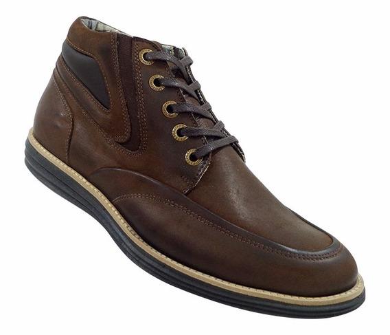 Sapato Casual Cano Médio Couro Marrom E Preto Com Cadarço