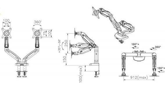 Suporte Articulado Elg F160 De Mesa Para 2 Monitores