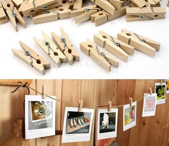 Mini Broches De Madera X50 Colgar Fotos Palermo Z Norte