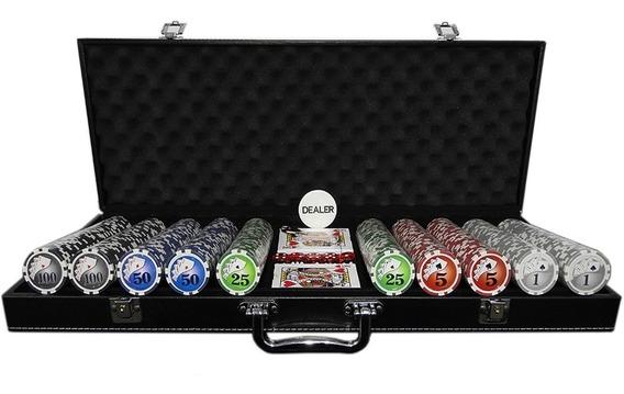 Maleta Jogo Poker 500 Fichas Oficiais Super Luxo Couro Preto