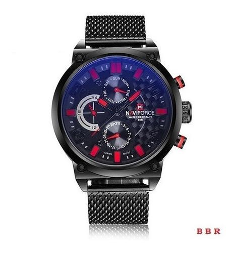 Relógio De  Pulso Masculino Naviforce Quartzo Aço 9068