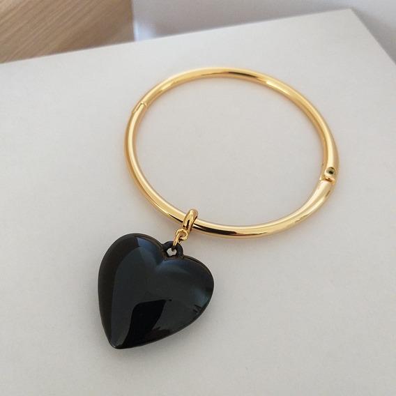 Pulseira Bracelete Pingente De Coração Preto Sigvara