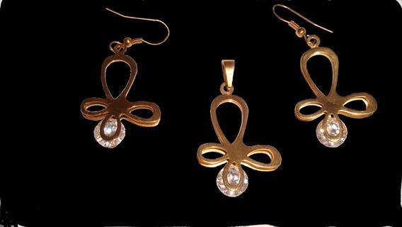 Ribbon Gold Set Aretes Y Dije Acero Inoxidabe Swarovski