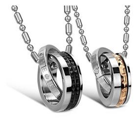 Colares Casal Namorados Banhado Ouro 18k + Aço Inoxidavel