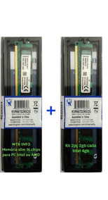 Kit 2 Memórias Kingston Ddr2 667mhz Total 4gb Chip 2 Lados