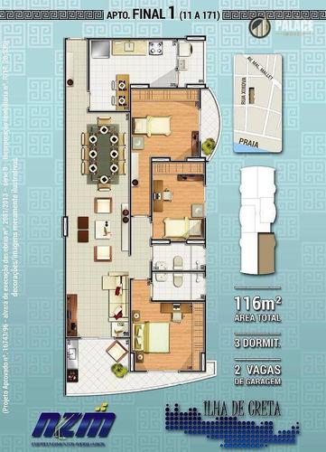 Apartamento Com 3 Dormitórios À Venda, 116 M² Por R$ 754.000,00 - Canto Do Forte - Praia Grande/sp - Ap2013