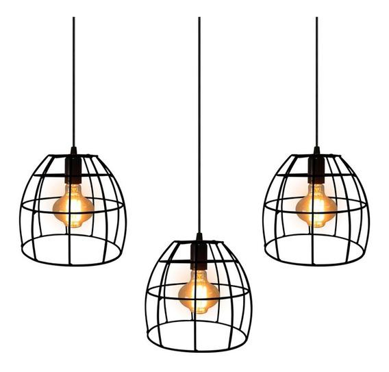 Trio Pendente Lustre Luminária Aramado Oval Preto