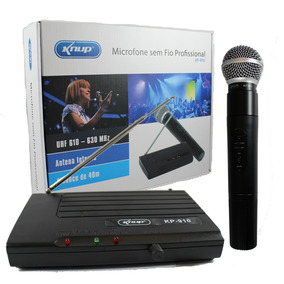 Microfone Sem Fio Uhf Wireless Bivolt Karaokê Profissional