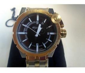 Relógio Atlantis Dourado Black Estilo Disel Coroa Rosqueada