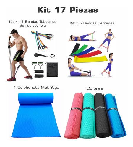 Kit Bandas Cerradas X5+kit Tubular 11 Piezas+colchoneta Yoga