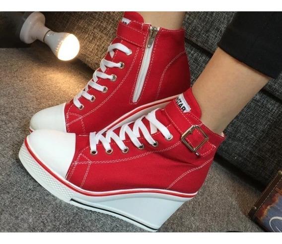 Tênis Plataforma Vermelho Feminino Jeans Até Tamanho 40