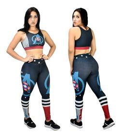 Calça Legging + Top / Blusa Capitão America 3d Fitness 5027