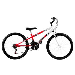 Bike Aro 24 18 Marchas V-brake Vermelha/branca Ultra Bikes