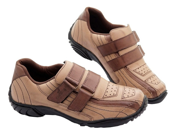 Sapato Tênis Casual Em Couro Legitimo Cadarço Confortavel