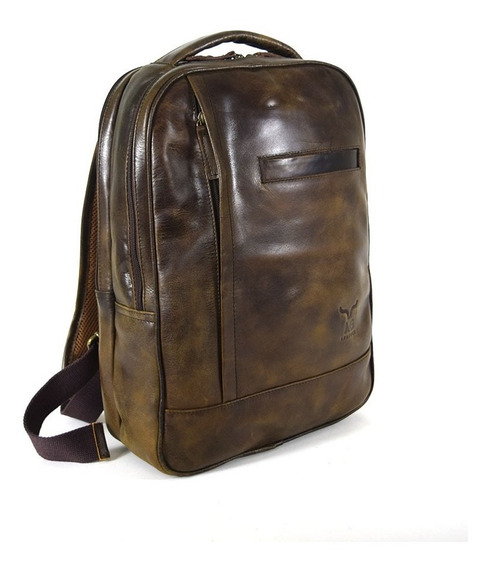 Back Pack Grande Ag Leather 100% Piel Chocolate
