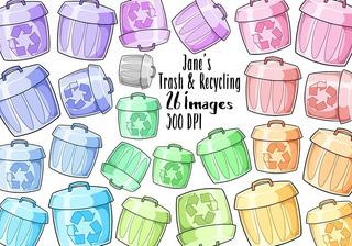 Ilustración de reciclaje de basura, clasificación de residuos clipart  redondo sobre fondo blanco. niña poniendo papel en el personaje de dibujos  animados de la papelera, elemento de reutilización de material   Vector