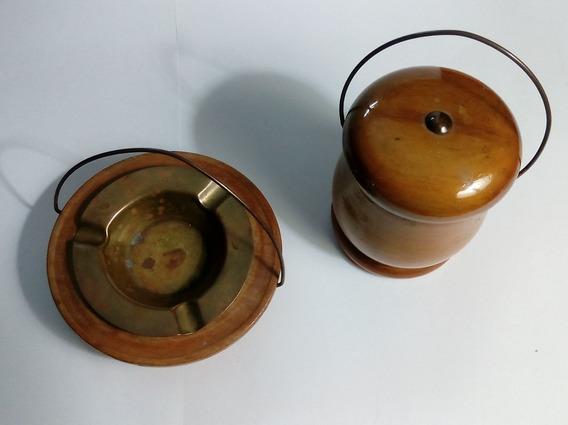 Cenicero Y Cigarrera Bronce Y Madera