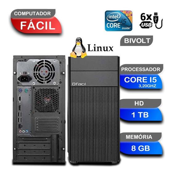 Computador Cpu Fácil Intel Core I5 3,20 8gb Ddr3 E Hd 1tb