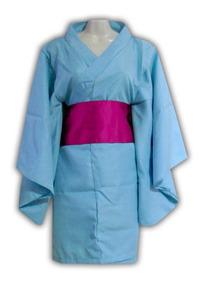 Kimono Corto Azul Japón Yukata Talla S/m