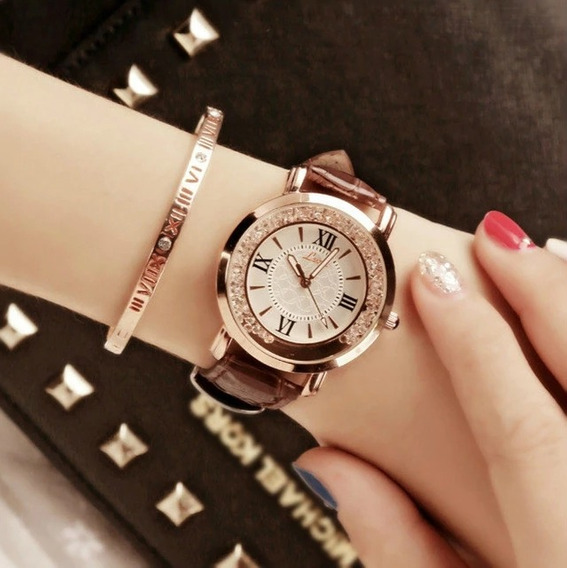 Hot Marca De Luxo Diamante Moda Strass Relógio De Couro Casu