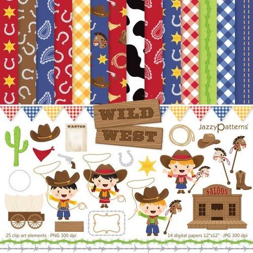 Kit Imprimible Pack Vaqueros Wild West 9 Clipart