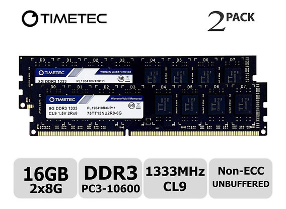 Memoria Ram 16gb Timetec Hynix Ic Kit (2x8gb) Ddr3 1333mhz Pc3-10600 Unbuffered Non-ecc 1.5v Cl9 2rx8 Dual Rank 240 Pin