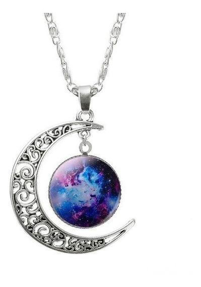 Colar Lua Universo Galaxia Nebulosa + Brinde