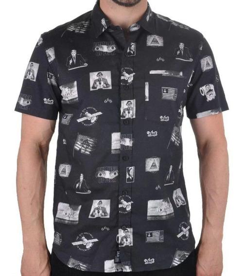 Camisa Social Lost M/c Fake News - Preta