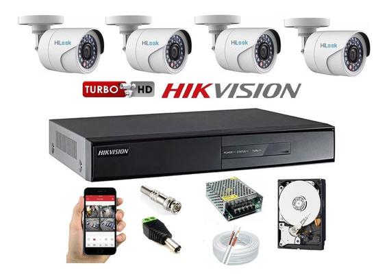 Kit 4 Câmera Hilook Fullhd 1080p+ Dvr 04c Hikvision 7204hghi