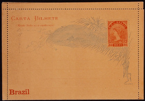 Brasil Carta Postal 1891 80rs Laranja Alegoria Republica Cab