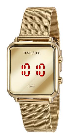 Relógio Feminino Mondaine Mod Digital Dourado Rosé Quadrado