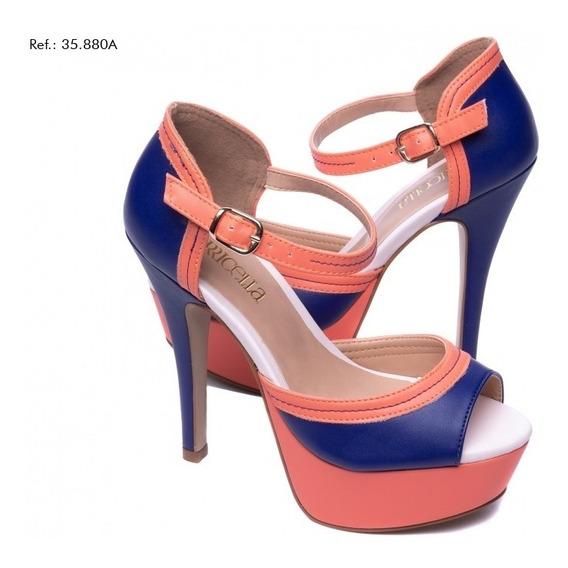 Sandália Torricella Meia Pata Napa Azul E Rosa