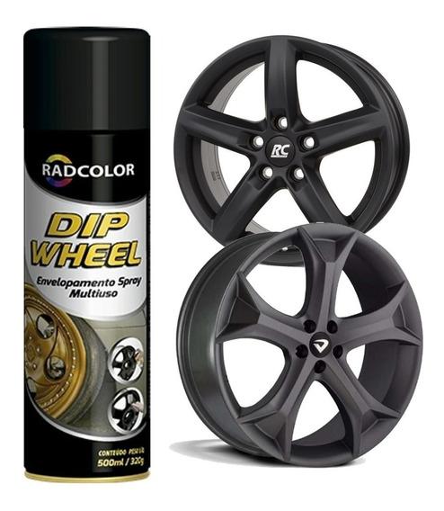 Tinta Spray Dip Wheel Envelopamento Líquido Preto 500 Ml
