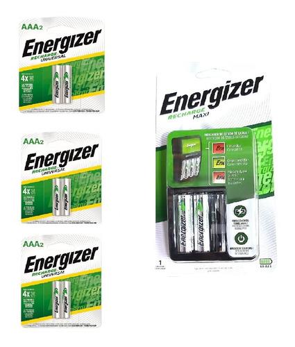 Imagen 1 de 5 de Cargador Energizer Maxi Aa Aaa + 2 Pilas Aa + 6 Aaa Recarg