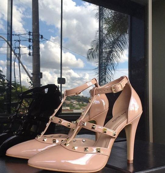 Sandalia Scarpin Salto Alto Bico Fino Feminino Luxo Verniz