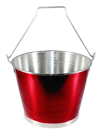 Balde Gelo Cerveja C/ Alça Alumínio Profissional Vermelho 9l
