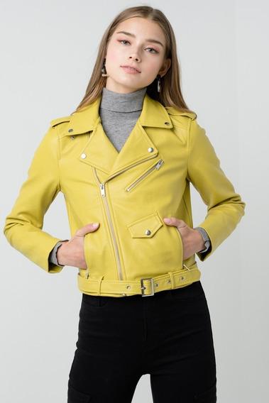 Moto Jacket Marca Love Tree Color Limon Otoño 2019