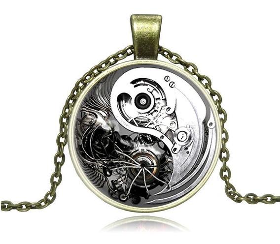Colgante Collar Engranajes Yin Y Yang Retro De Aleación Zinc
