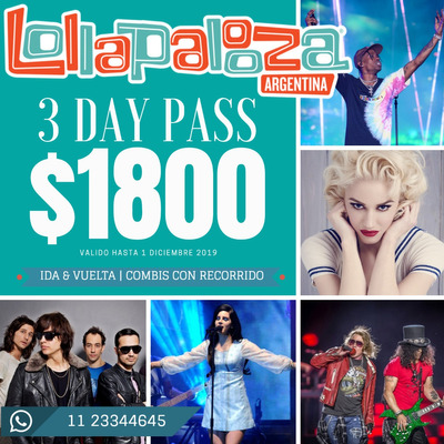 Combis Charter Lollapalooza 2020 3 Day Pass| Puerta A Puerta
