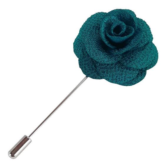 Fistol Pin Broche De Flor Color Turquesa Para Solapa