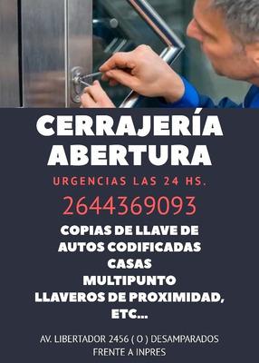 Servicio De Cerrajería A Domicilio Las 24 Hs. San Juan