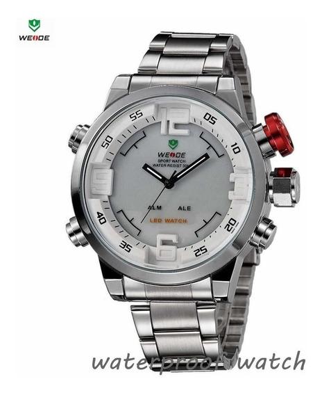 D-004 Relógio Weide Branco 50 Mm - A Prova Dágua