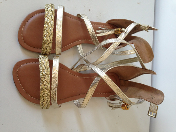 Sandalia Dourada Nova Linda - Nunca Usada