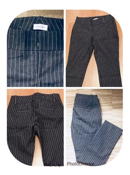 Pantalon De Mujer Calvin Klein Importado Recto Rayado