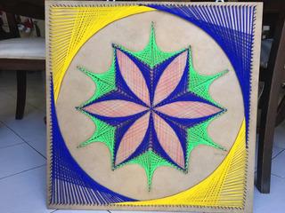 Cuadro Decorativo Hilorama Azul Verde Amarillo Rosa 60x60cm