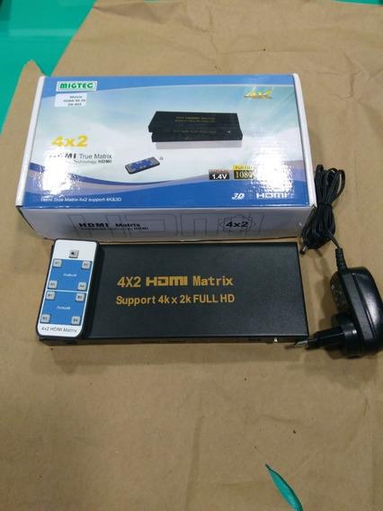 Switch Matrix Hdmi 4x2 4k2k Com Controle Remoto 4kdk402