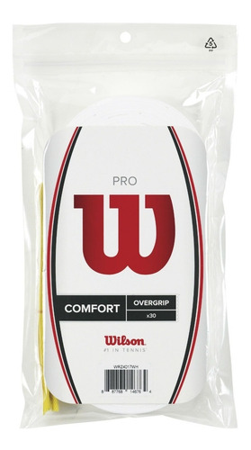 Pack X30 Cubregrips Wilson Pro Confort Overgrip Liso Blanco