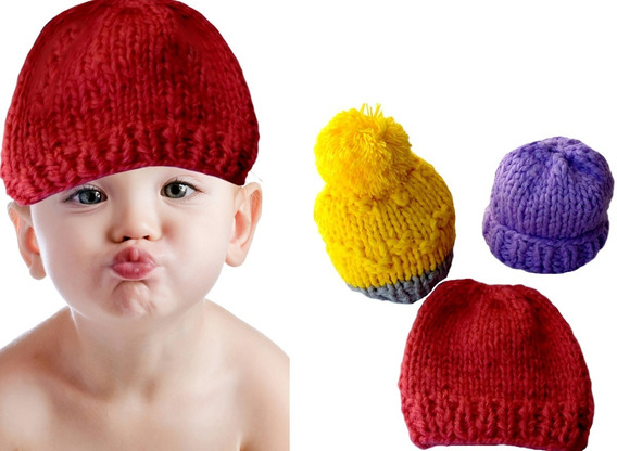 Kit 3 Gorros De Lã Infantil Frio Intenso E Neve 1 À 3 Anos