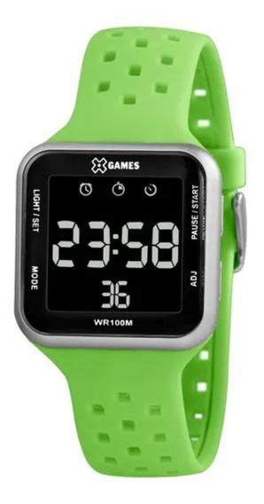 Relógio Masculino Verde E Prata X-games Digital Silicone